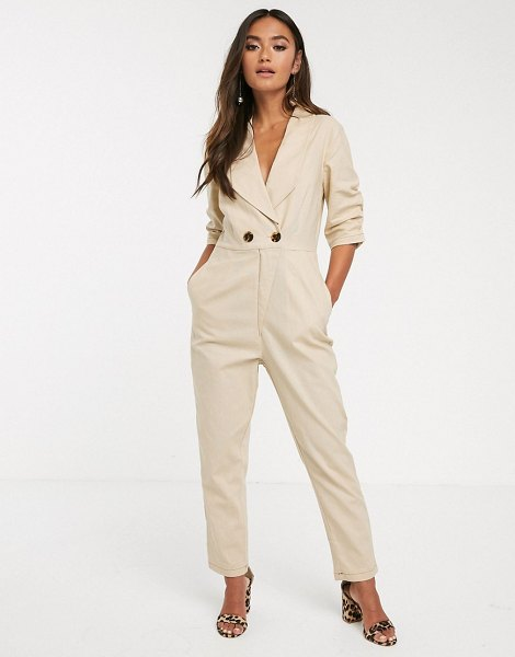 Finders Keepers venice button detail boilersuit in biscuit