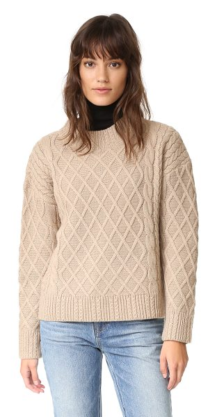 Finders Keepers odom cable knit sweater in biscuit - A lattice design adds tactile contrast to this boxy,...
