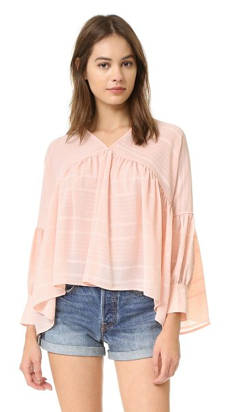 Finders Keepers without you blouse in pale pink - Tonal, embroidered stripes accent this oversized...