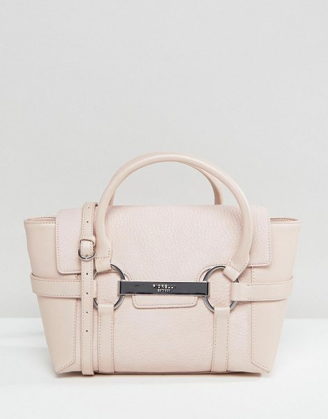 "Fiorelli Barbican Mini Foldover Blush Tote Bag With Metal Bar Detail in pink - """"Cart by Fiorelli, Faux leather, Printed lining, Twin..."