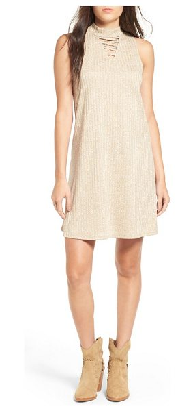 Fire mock neck rib knit shift dress in oatmeal - Crisscrossed straps punctuate the trendy mock-neck...