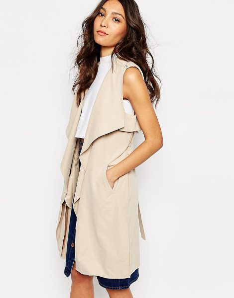 FIRST & I Sleeveless trench coat - Coat by First I, Unlined woven fabric, Silky-feel...