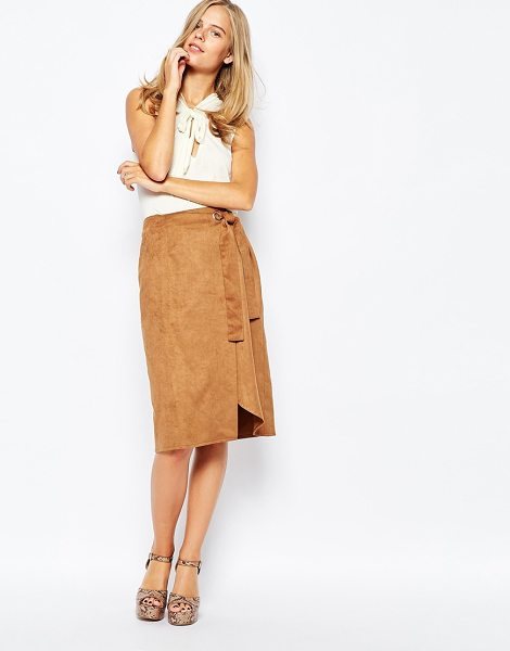 First & I Wrap Pencil Skirt in tan - Skirt by First I, Woven fabric, Wrap design, Belted...