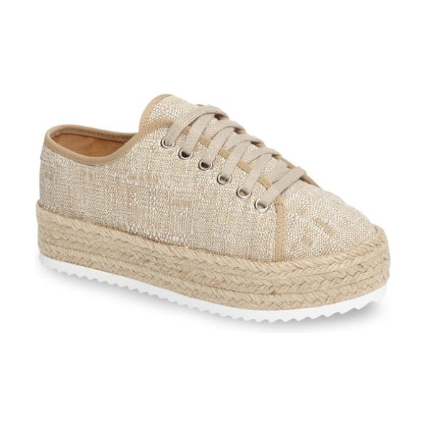 five worlds romero espadrille sneaker in sahara fabric - A wrapped espadrille platform enhances the laid-back...