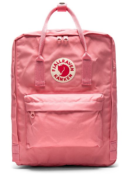 Fjallraven Kanken in pink - Poly fabric exterior and lining. Zip top closure....
