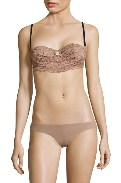Fleur du Mal charlotte lace longline bra in tan - Lace bra featuring front cutout detail. Adjustable...