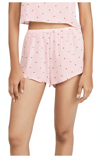 Fleur du Mal dot embroidered tap shorts in pink opal