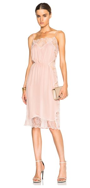 Fleur du Mal Rose Lace Applique Slip Dress in dusty rose - Self: 100% silkContrast Fabric: 100% polyamide. Made in...