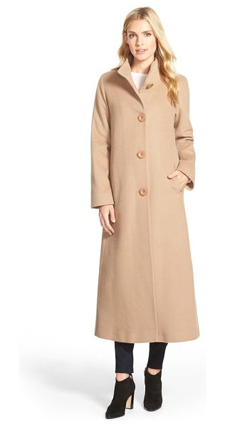 FLEURETTE cashmere long stand collar coat - A long, chic coat is beautifully tailored in exquisitely...