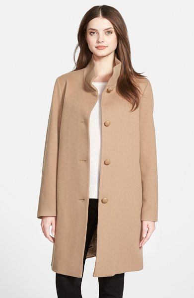Fleurette petite   cashmere stand collar car coat in camel - A tall stand collar tops a timelessly elegant A-line...