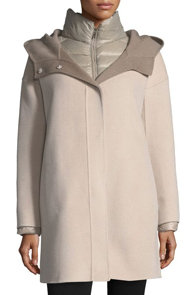 Fleurette Double-Face Hooded Wool Coat w/ Ultra Light Down Jacket in stone/taupe