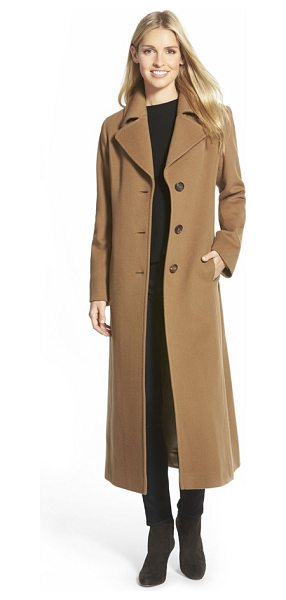 Fleurette long wool notch collar coat in vicuna - Timeless elegance defines a sweeping, single-breasted...