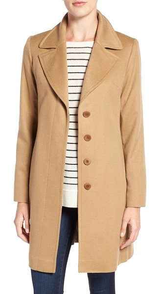 Fleurette notch collar lightweight cashmere coat in camel - A coat you'll keep for many seasons is exquisitely...