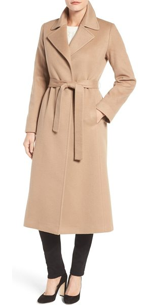 Fleurette notch collar long cashmere wrap coat in camel - Pure cashmere lends an ultra-luxe feel to a timelessly...