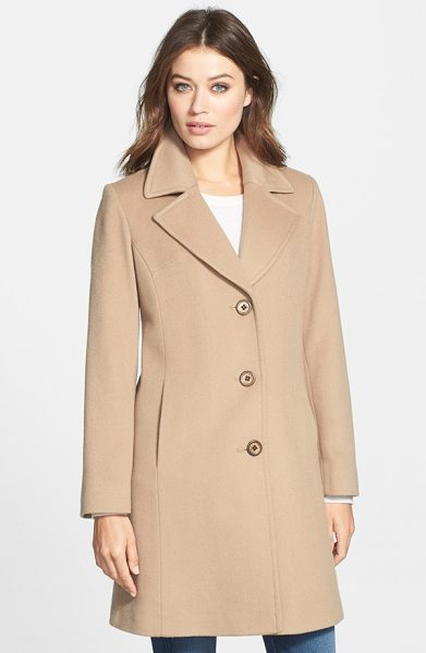 Fleurette petite   notch collar wool walking coat in camel - An investment in enduring elegance, a simply styled...