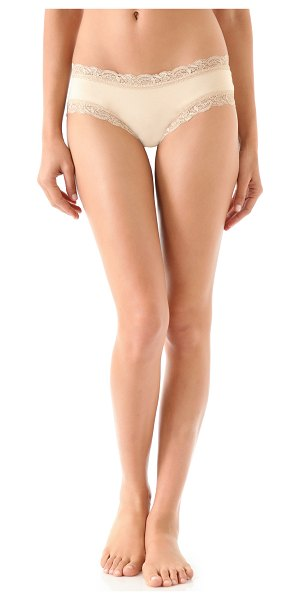 Fleur't top drawer boy shorts in nude - These jersey boy shorts feature lace-trimmed edges. 95%...