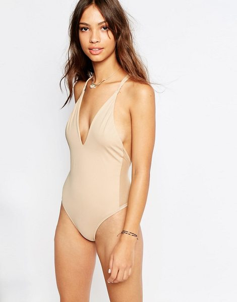 Flook Catalina Swimsuit in cream - Swimsuit by Flook, Stretch swim fabric, Plunging...