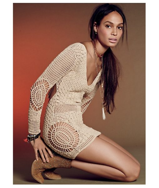 Flook Alexis dress in honey - Crochet cotton tunic featuring a V-neckline and open...