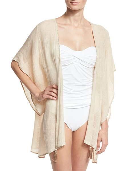 "FLORABELLA Baltic Embroidered Linen Kimono Coverup - Floral Bella ""Baltic"" gauze kimono coverup with..."