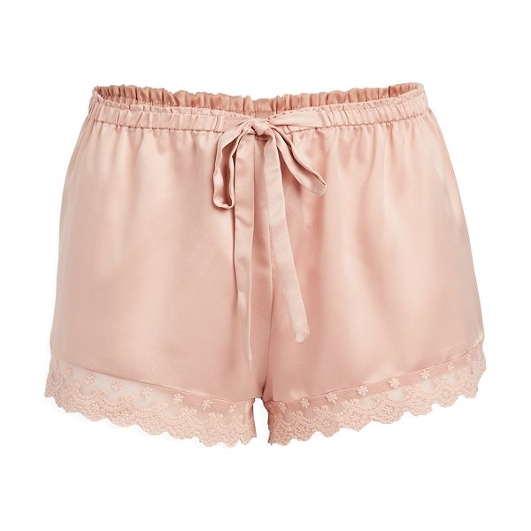 Flora Nikrooz solid charmeuse shorts with lace in apricot