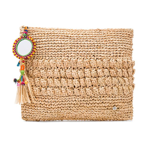 """florabella Muga Clutch in tan - """"Woven raffia exterior and lining. Zip top closure with..."""