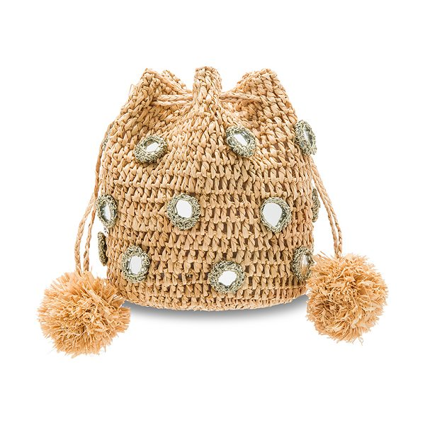 "FLORABELLA Tangier Bag - ""Woven raffia exterior and lining. Metallic trimmed..."