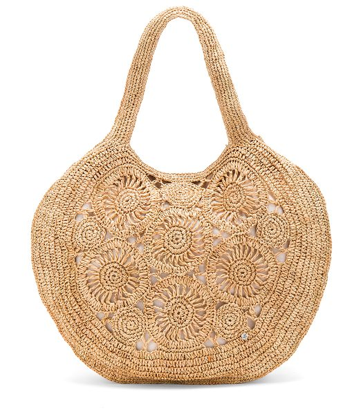 "florabella Tortola Tote in beige - ""Woven straw exterior with canvas lining. Top magnetic..."