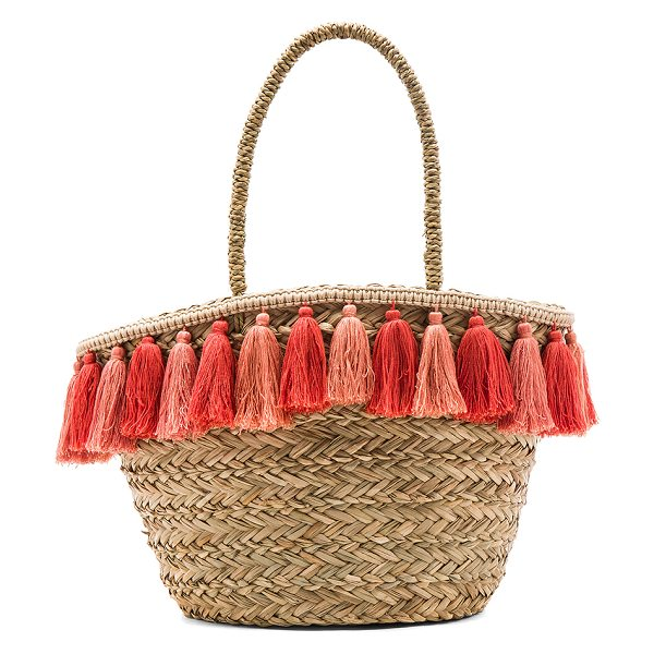 "florabella Wilmington Tote in beige - ""Woven raffia exterior and lining. Open top. Fringed..."
