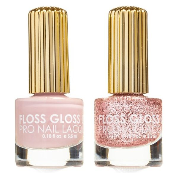 Floss Gloss the pink nugget & palazzo pleasures set of 2 nail lacquers in blush glitter/ dusty lilac - Designed in Brooklyn, New York, and made in California,...