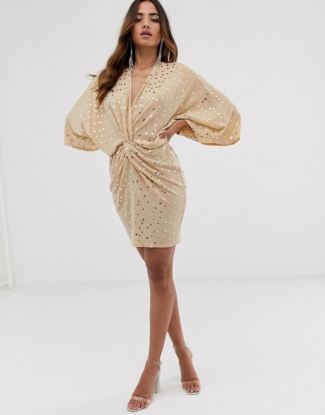 Flounce London glitter twist front mini dress in soft pink sequin in pink