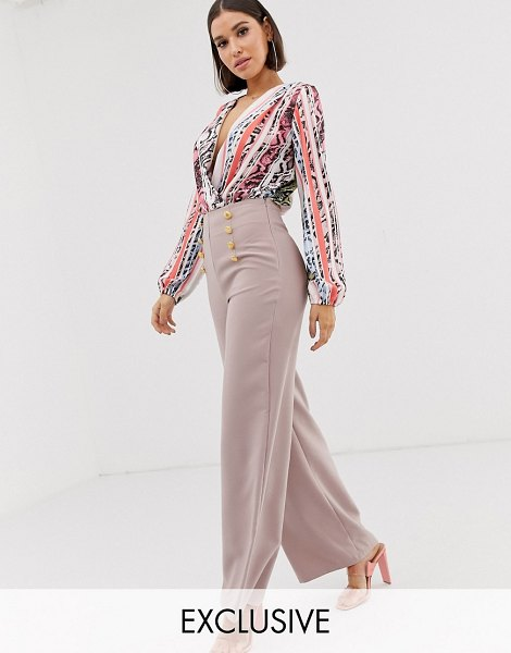 Flounce London highwaist palazzo pants in mauve in mauve