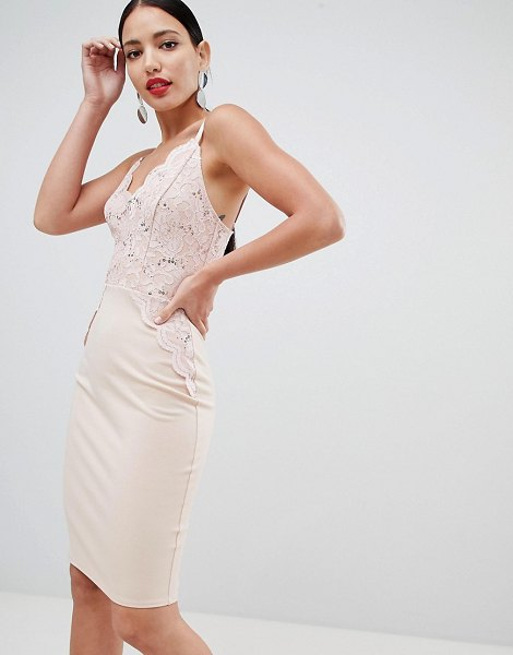 Flounce London sequin lace cami bodycon dress in pink in duskypink