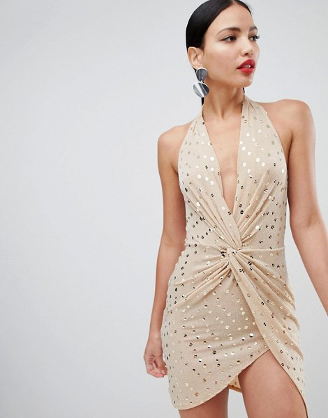 Flounce London sequin mini dress with twist front in gold in nudegold