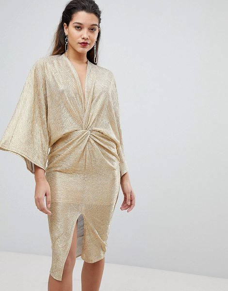 Flounce London wrap front kimono midi dress in gold - Dress by Flounce London, V-neck, Knot design, It's all...