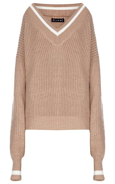 Flow The Label Oversized V-Neck Tennis Sweater in neutral - This *Flow The Label* Oversized V-Neck Tennis Sweater...