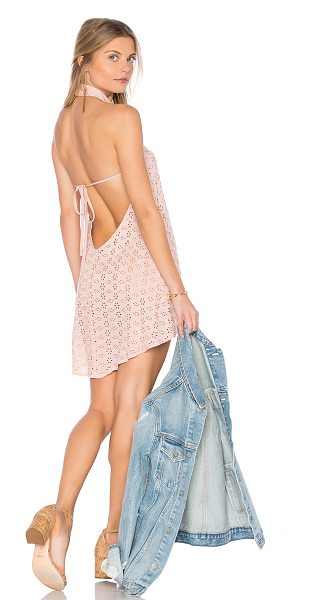 Flynn Skye Ariana Mini Dress in Blush Eyelet in pink - Poly blend. Hand wash cold. Unlined. Back neck button...