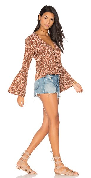 Flynn Skye Boston Top in hippie hazel - Rayon blend. Dry clean only. Lace-up front with tie...