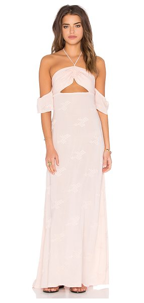 Flynn Skye Err Night Maxi Dress in blush - 100% rayon. Dry clean only. Unlined. Halter strap ties...
