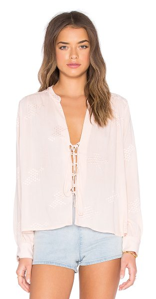 FLYNN SKYE Get away blouse - Rayon blend. Lace-up front. Embroidered contrast. Button...