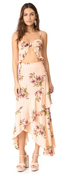 Flynn Skye michelle maxi dress in blush gathering - This daring Flynn Skye maxi dress has a tie front...