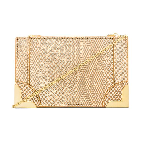 Foley + Corinna Framed petite crossbody in metallic gold - Snake embossed leather exterior with printed fabric...