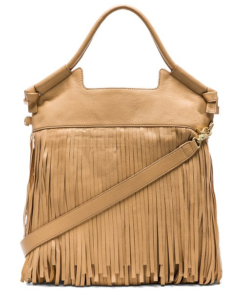 Foley + Corinna Fringed city tote in beige - Leather exterior with printed fabric lining. Measures...