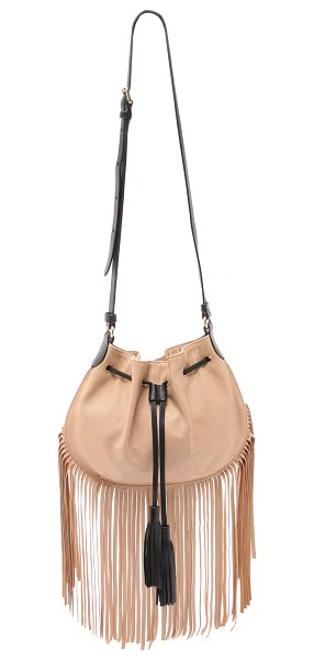 Foley + Corinna Luna fringe cross body bag in biscuit - This soft leather Foley + Corinna cross body bag has a...