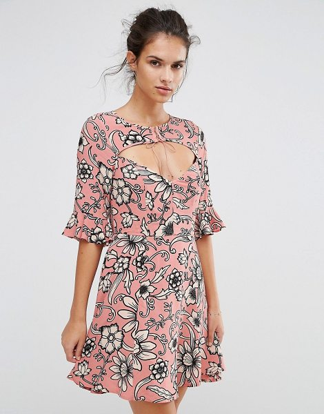 FOR LOVE & LEMONS For Love and Lemons Ayla Laced Up Dress in Print - Dress by For Love And Lemons, Textured woven fabric,...