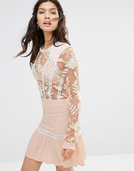 For Love & Lemons Emelia embroidered mini dress in pink - Evening dress by For Love And Lemons, Sheer mesh top,...