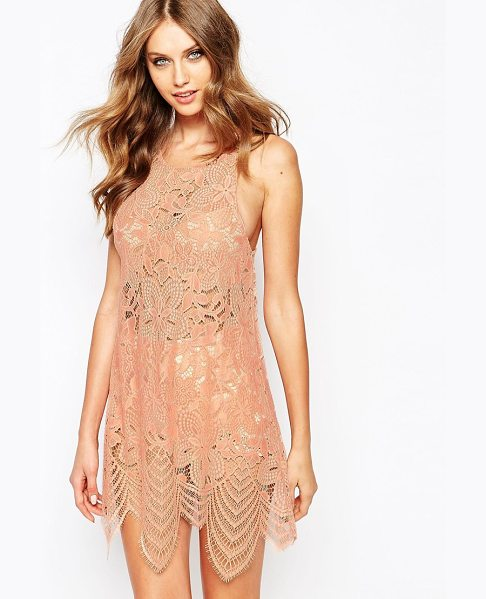 For Love & Lemons Mini dress in lace in pale blush - Lace dress by For Love And Lemons Sheer floral lace...