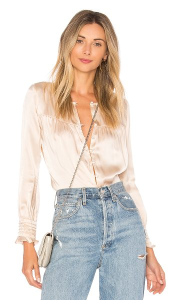 FOR LOVE & LEMONS Abigail Secretary Bodysuit - Silk blend. Dry clean only. Front button closure. Ruffle...
