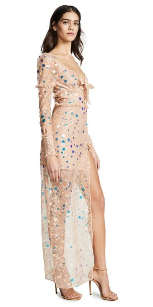 For Love & Lemons ace maxi dress in nude - Fabric: Lace Puff sleeves Sequin details High slit at...