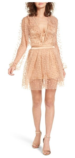 For Love & Lemons all that glitter minidress in almond - With a plunging neckline and floaty star-embellished...