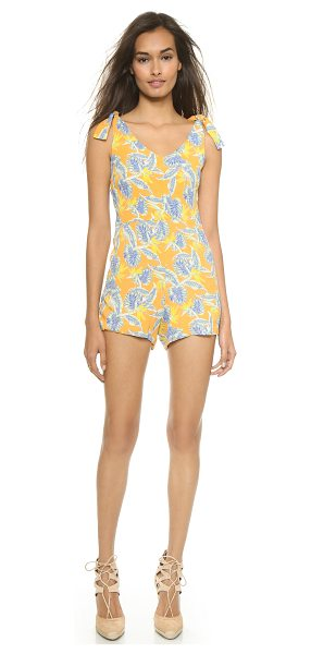 For Love & Lemons Aloha romper in bird of paradise gold - A tropical floral print brings bright color to this For...